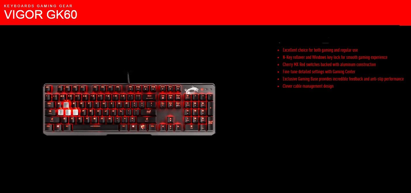 Msi Vigor Gk60 Mechanical Gaming Keyboard Cherry Mx Red Switches S11 04us234 Pa3 Buy Best Price In Uae Dubai Abu Dhabi Sharjah