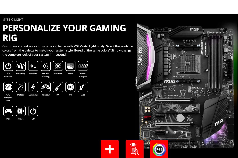 MSI X470 Gaming PRO Carbon AMD Ryzen 2 AM4 DDR4 Onboard Graphics SLI ATX  Motherboard, M 2 slot, NVID