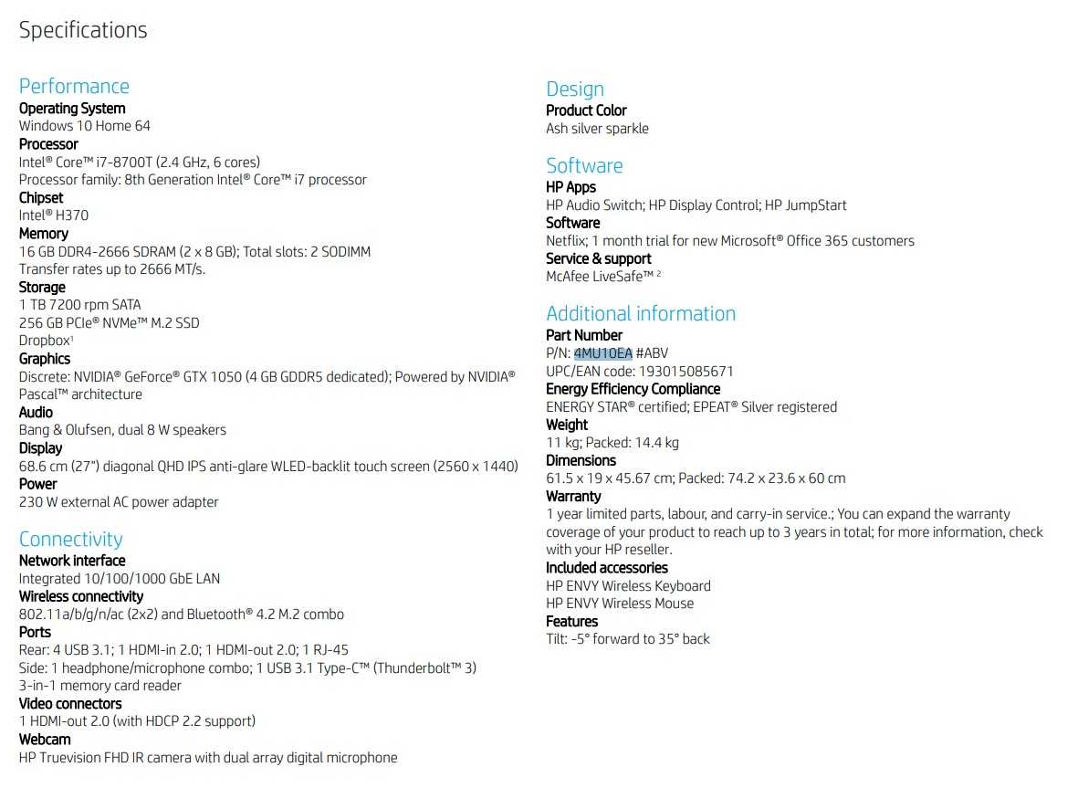 HP ENVY 27 B200NE All-in-One PC I7 8700 Processor, 16GB RAM, 1TB HDD  Storage + 256 SSD, Touch Screen, Windows 10   4MU10EA