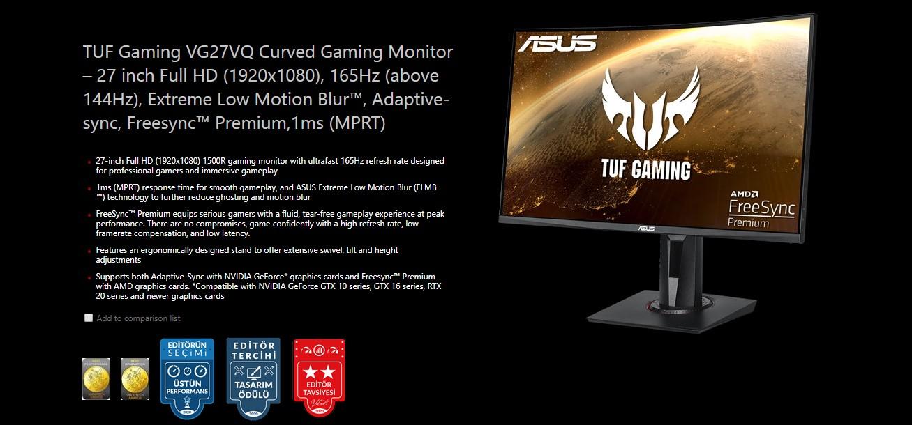 Asus Tuf Vg27vq Gaming Curved Gaming Monitor 27 Inch Full Hd 1920x1080 165hz Adaptive Sync Freesync Premium 1ms Mprt Vg27vq Buy Best Price In Uae Dubai Abu Dhabi Sharjah