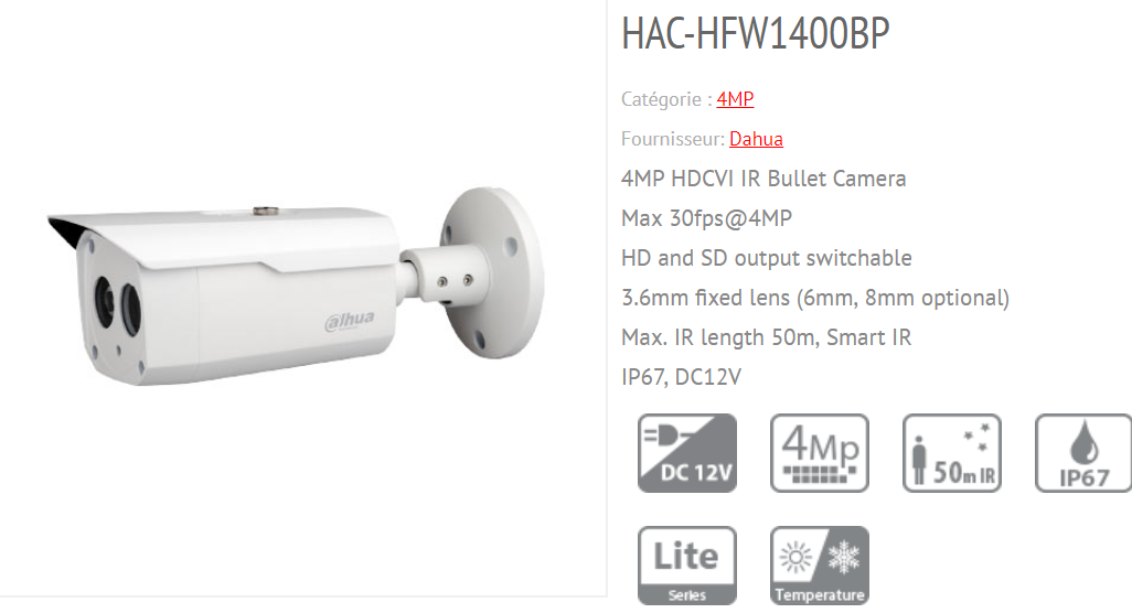 DAHUA HDCVI Camera 4MP, 3 6MM Fixed Lens, 1 3 CMOS, Board in Mount Type,  Multi language HAC HFW