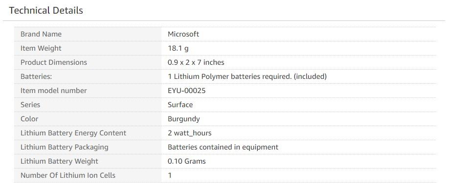 Microsoft Surface Pen Burgundy EYU 00001