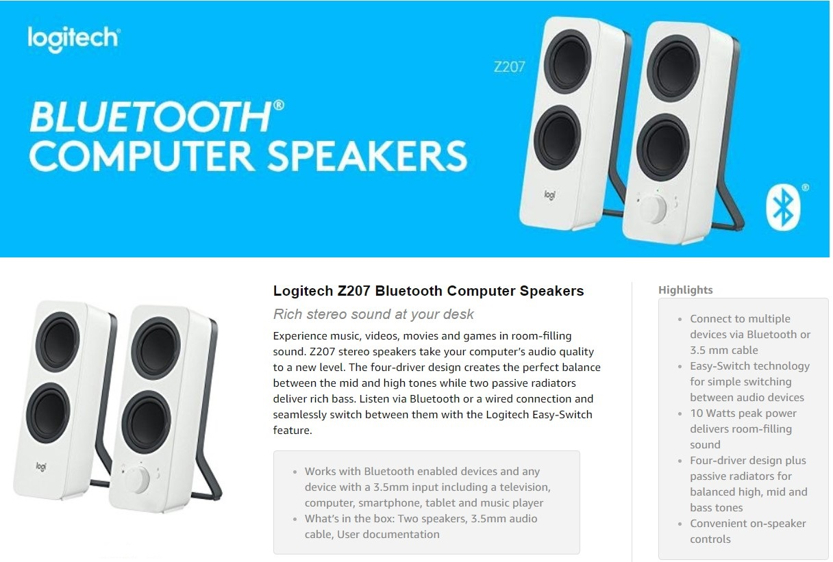 41dd751f00f Description for Logitech Z207 2.0 Multi Device Stereo Speaker with Bluetooth  (White) | 980-001293