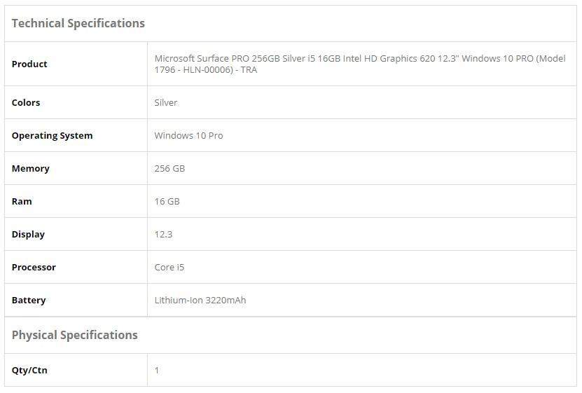 Microsoft Surface PRO 256GB Silver, i5 16GB Intel, HD Graphics 620, 12 3  Windows 10 PRO Pen Not