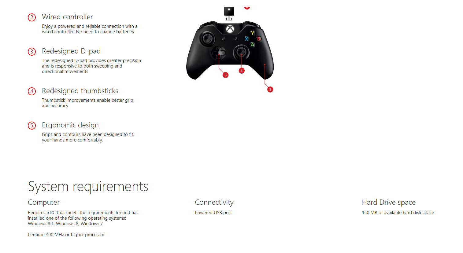 Microsoft XBox One Controller-Cable For Windows | 4N6-00002