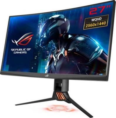ROG Swift Curved Gaming Monitor – 27 inch 2K WQHD (2560x1440), overclockable 165Hz, 1ms, G-SYNC, Aura Sync Technology   PG27VQ