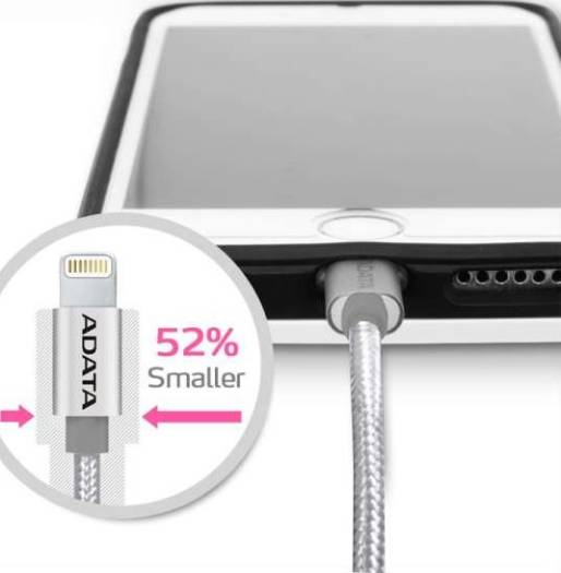 ADATA MFi-Certified Sync and Charge Lightning Cable 1 Meter for Apple iPhone, iPad, iPod (Aluminum and Braided, Fast Charging up to 2.4A, Durable) – Silver | AMFIAL-100CMK-CSV