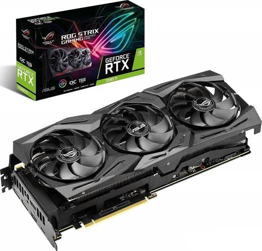 Asus ROG Strix GeForce RTX 2080 Ti OC edition 11GB GDDR6 Graphic Card with 3x Fans,  PCI Express 3.0, DP, USB-C, HDMI ,128bits, DirectX 12, 12nm , Triple Fans  | 90YV0CC0-M0NM00