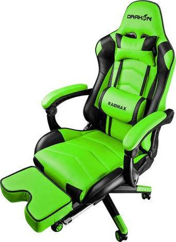 Raidmax Drakon Gaming Chair With Footrest Green Dk709gn