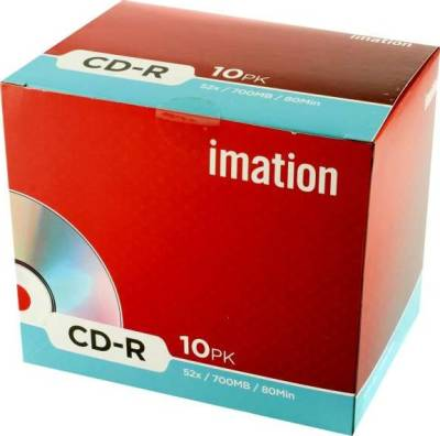 Imation 18645 CD-R 52x 10 Pack Slim Jewel Case