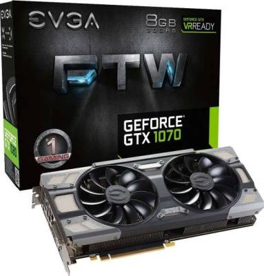 EVGA GeForce GTX 1070 FTW GAMING ACX 3.0, w/ Adjustable RGB LED Graphics Card | 08G-P4-6676-KR