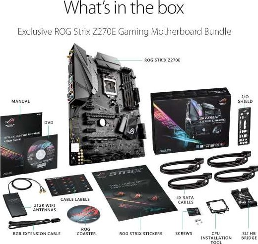 rog strix z270e gaming asus rog strix z270e gaming lga1151 ddr4 dp hdmi dvi m 2 atx motherboard with onboard ac wifi and usb 3 1