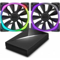 NZXT 120mm RGB LED Aer RGB120 & HUE+ 2 x Advanced RGB LED PWM Fan with HUE+ Controller   RF-AR120-C1