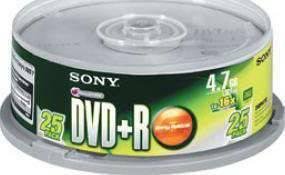 SONY 25 SPINDLE 16X DVD+R DISC 4.7GB