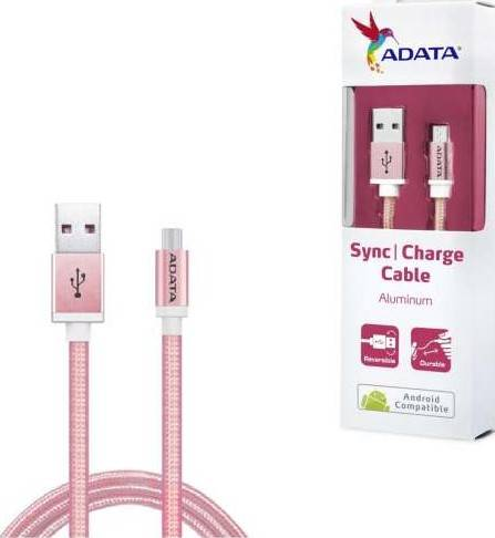 ADATA Micro USB Cable 1 meter for Android (Aluminum, Reversible, Durable) – Rose Gold | AMUCAL-100CMK-CRG