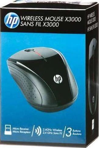 HP X3000 24GHZ 1200 Dpi Optical Wireless Mouse Black