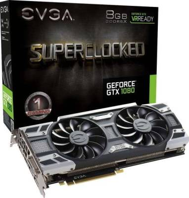 EVGA GeForce GTX 1080 SC GAMING ACX 3.0, 8GB GDDR5X, LED, DX12 OSD Support (PXOC) Graphics Card | 08G-P4-6183-KR