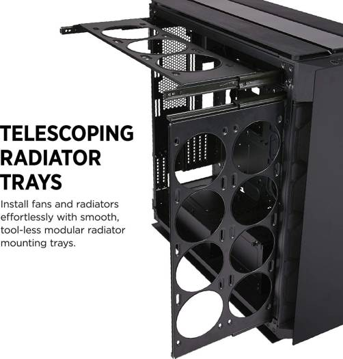 CORSAIR OBSIDIAN 1000D Super-Tower Case, Smoked Tempered Glass, Aluminum Trim - Integrated COMMANDER PRO Fan And Lighting Controller | CC-9011148-WW
